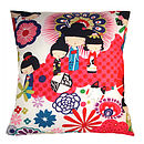 Cool Japanese Dolls Red Retro Modern Cushion