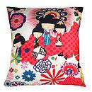 Cool Japanese Dolls Retro Modern Print Cushion