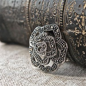 Vintage Style Rose Marcasite Brooch - pins & brooches