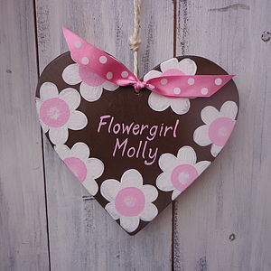 Personalised Bridesmaid Or Flowergirl Heart