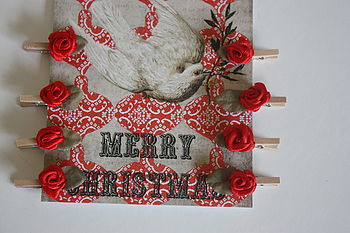 Set Of 12 Red Rose Christmas Card Pegs