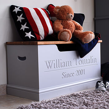 Personalised toy box shown in Pavilion Grey