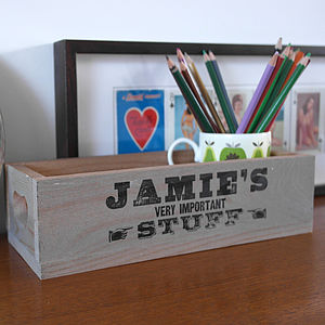 Vintage Style Wooden Desk Tidy - personalised