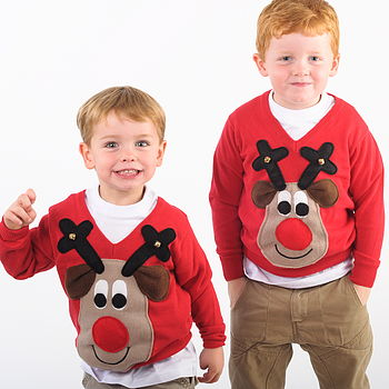 Kids Squeaky Nose Rudolph Christmas Jumper Beige