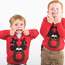Kids Squeaky Nose Rudolph Christmas Jumper Brown
