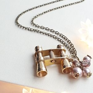 Binoculars Necklace With Swarovski Pearls