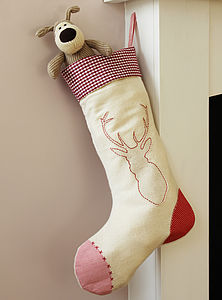 Reindeer Christmas Stocking - stockings & sacks