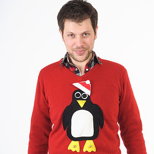Men's Penguin Christmas Jumper V Neck