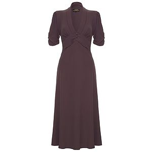 Sable Midi Dress In Stone Purple Crepe - dresses