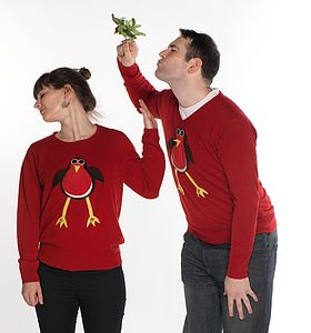 Squeaky Robin Christmas Jumper V Neck