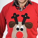 Squeaky Nose Rudolph Christmas Jumper V Neck Beige