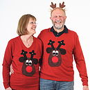 Squeaky Nose Rudolph Christmas Jumper V Neck Brown
