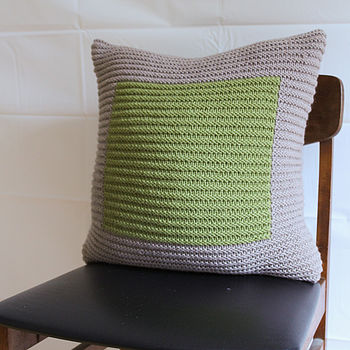 Handknit Ecru And Apple Colourblock Cushion