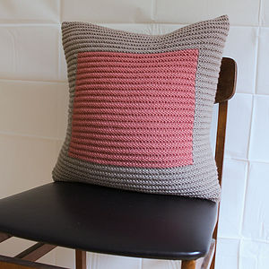 Handknit Ecru And Rose Colourblock Cushion - cushions