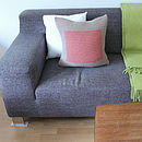 Handknit Ecru And Rose Colourblock Cushion