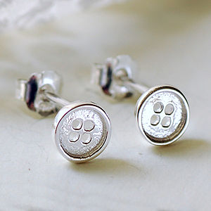 Tiny Silver Button Stud Earrings - earrings