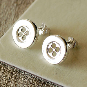 Button Stud Earrings - earrings