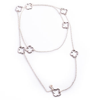 Long Silver Clover Necklace