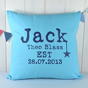 Boy's Personalised Blue Birth Date Cushion - cushions
