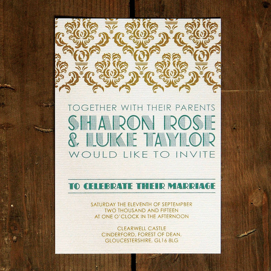 Art Deco Gatsby Wedding Invitation By Feel Good Wedding