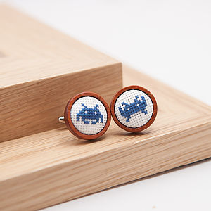 Hand Embroidered Space Invaders Cufflinks