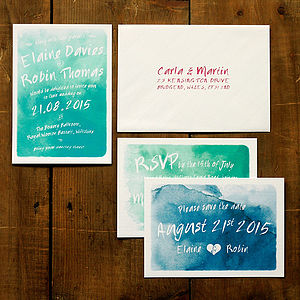 Whimsical Watercolour Wedding Invitation Set - save the date cards