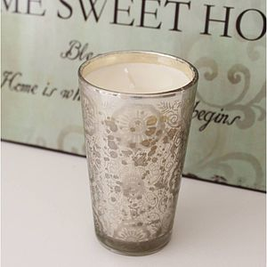 Antique Silver Glass Votive Scented Candle