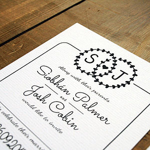 Heart Illustration Wedding Invitation Set - save the date cards