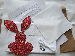 Red Bunny Patchwork Quilt Kit - sleeping