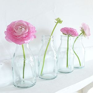 Old School Glass Milk Bottles - vases