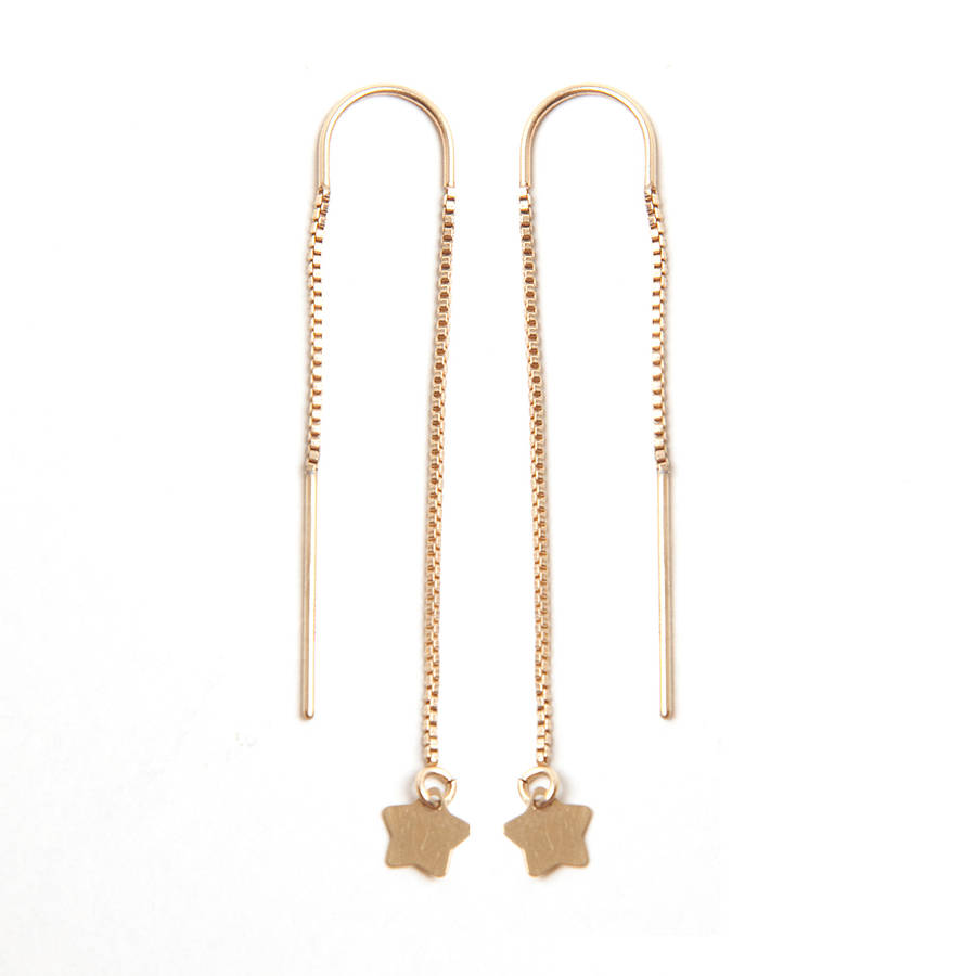 8e687d62e4aa3 Gold Star Chain Thread Earrings