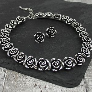 Metal Rose Necklace And Earrings Set - necklaces & pendants