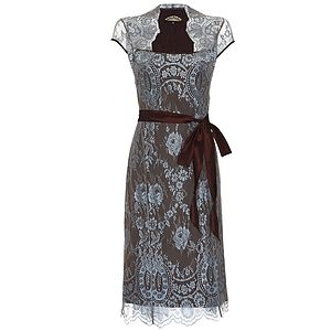 Lace Dress With Forties Neckline In In Winter Blue - fashion