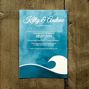 Ocean Wave Wedding Invitation Stationery - invitations