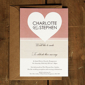 Big Love Heart Wedding Invitation Stationery