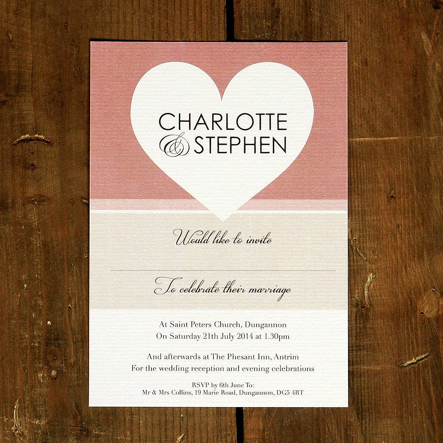 Big Love Heart Wedding Invitation Stationery By Feel Good