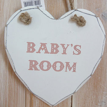 'Baby's Room' Hanging Heart Plaque Pink