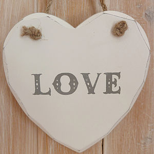 'Love' Hanging Heart Plaque