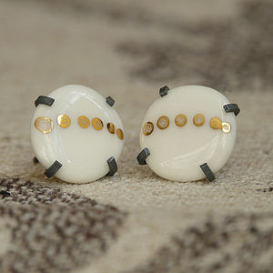 Dotty Porcelain And Silver Earrings - earrings