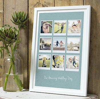 Personalised Polaroid Album in 23mm white frame - sea blue background - 9 images