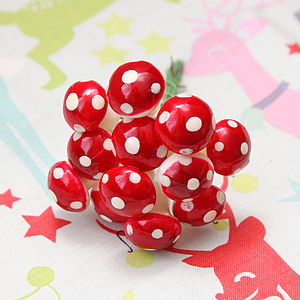 Christmas Toadstool Wire Decorations