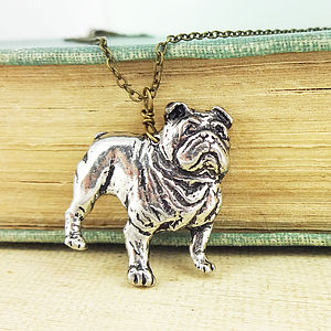 Bulldog Necklace Pendant Antiqued Pewter
