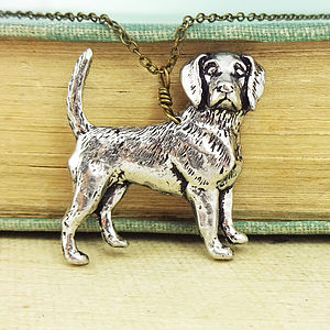 Beagle Necklace Pendant Antiqued Pewter
