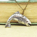 Wild Trout Necklace Pendant Antiqued Pewter