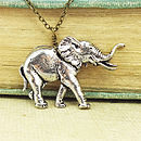 Wild Elephant Necklace Pendant Pewter
