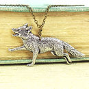 Wild Fox Necklace Pendant Antiqued Pewter