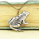 Wild Frog Necklace Pendant Antiqued Pewter