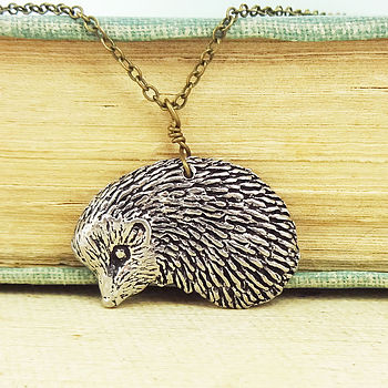 Wild Hedgehog Necklace Pendant Pewter