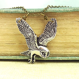 Barn Owl Necklace Pendant Antiqued Pewter - necklaces & pendants