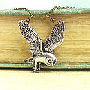 Barn Owl Necklace Pendant Antiqued Pewter